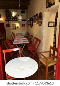 CALCATA, LATIUM, ITALY - SEPTEMBER 9, 2018: Latteria del Gatto Nero, a characteristic  restaurant, perfectly in line with the atmosphere of the village of Calcata.