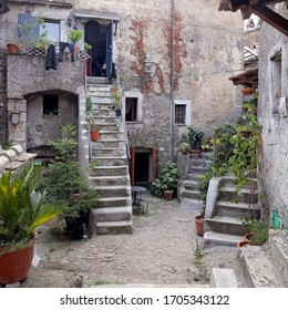 Calcata (VITERBO), Italy - July 27, 2019: Calcata, comune and town in the Province of Viterbo in the Italian region Latium