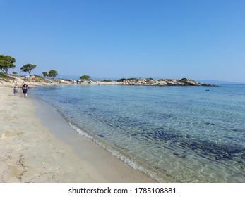 CALCIDICA, GREECE - CIRCA AUGUST 2019: View of Vourvourou Karidi beach