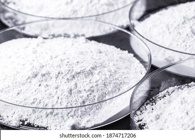 Calcium carbonate, the result of the reaction of calcium oxide with carbon dioxide. Being prepared in petri dish