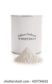 Calcium carbonate whiting is a flux used in pottery glazes to improve durability and hardness. CaCO3. Label made for the photo shoot, no copyright infringement issues.