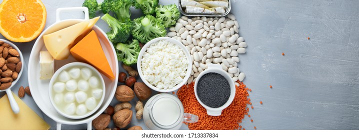 Calcium Rich Foods for Healthy diet eating and For Immune Boostig. Top view with copy space. Panorama, banner