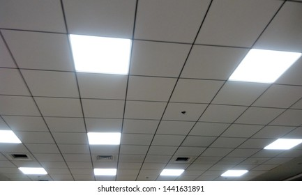 Calcium silicate grid ceiling 60cmx60cm with Lighting 60cmx60cm as false ceiling for office building for an workstation and captured in landscape image