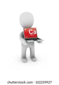 calcium symbol on screen laptop