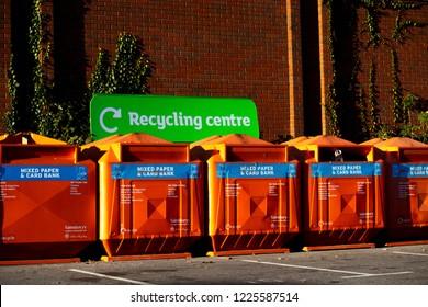 Calcot, Reading, Berkshire, England - October 29, 2018, general public recycling centre bin facilities located in Sainsburys car park