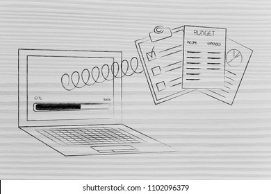 calculate your budget conceptual illustration: laptop with progress bar and documents popping out of the screen on a spring