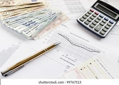 Calculating financials. Creating financial report.