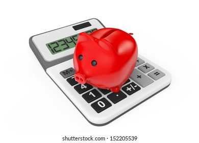 Calculating Savings Concept. Piggy Bank with calculator on a white background