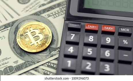 Calculating taxes on cryptocurrencies investments - concept. 3D rendering