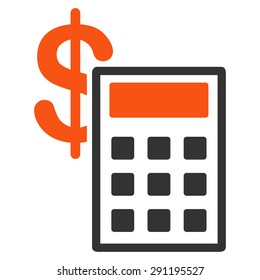 Calculation icon from Commerce Set. Glyph style: bicolor flat symbol, orange and gray colors, rounded angles, white background.