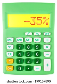 Calculator with -35% on display on white background