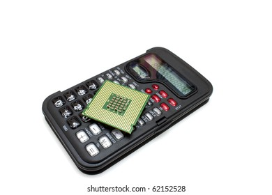 The calculator of black color with the computer processor on it on a white background