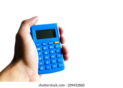 Calculator blue in hand on white