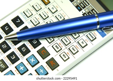 Calculator and a blue pen
