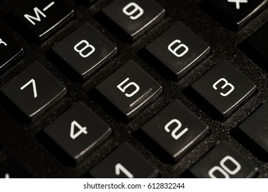 Calculator buttons closeup on white background isolated