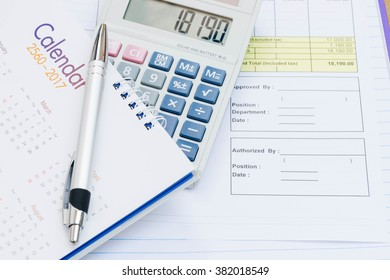 Calculator and calendar put on document Requested for signing to approve