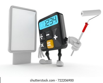 Calculator character with blank billboard isolated on white background. 3d illustration