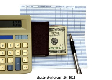 calculator check book transaction register pen stock photo edit now