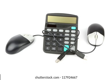 calculator and computer mouse isolated with soft shadow over white background