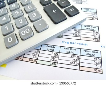 The calculator with cost document sheet