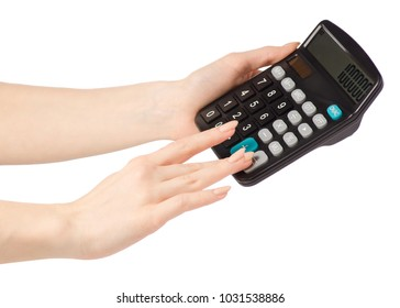 Calculator count in hand on a white background isolation