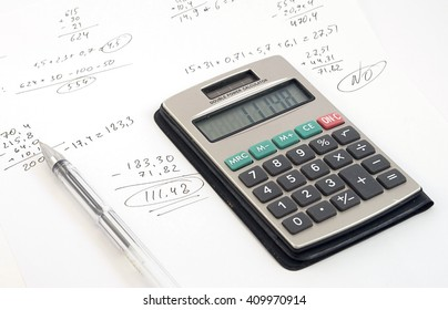 Calculator and documents, light soft focus