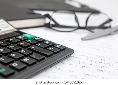 calculator and documents for working on the table, Finance and savings, Business concept.