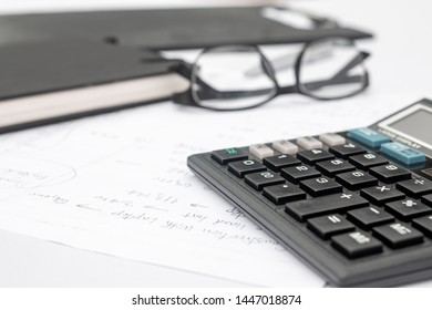 calculator and documents for working on the table, Finance and savings, Business, accounting concept.