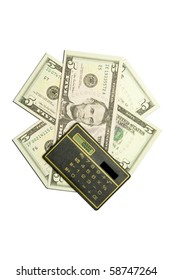 calculator and dollar bills on white background