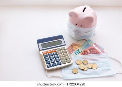 Calculator, Euro banknotes and coronavirus in Europe