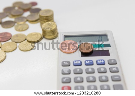 Calculator With Euro Coins 1 Cent To 50 Cents