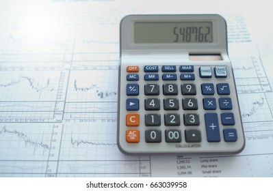 Calculator with financial and investment report put on desk office.