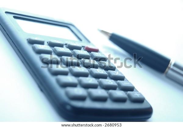 Calculator, fountain pen - office work