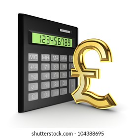 Calculator and golden sign of pound sterling.Isolated on white background.3d rendered.