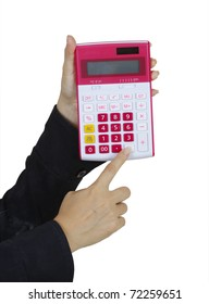calculator and hand