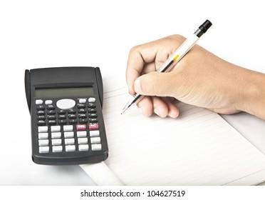 calculator with hand writing