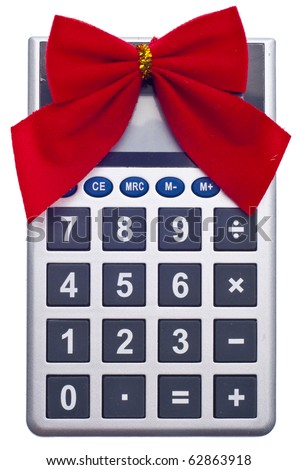 Calculator Holiday Bow Christmas Budget Concept Stock Photo Edit