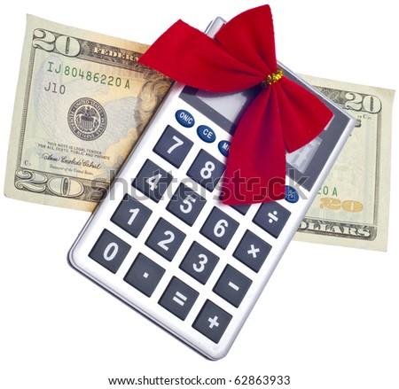 calculator holiday bow currency christmas budget stock photo edit