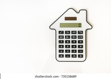 Calculator isolated on white - lease, purchase, investment, mortgage, real estate, sell and buying concept
