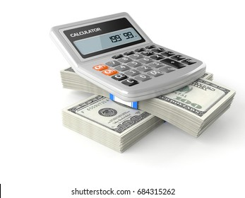 Calculator with money isolated on white background. 3d illustration