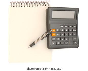 calculator, notebook and  pen. 3d