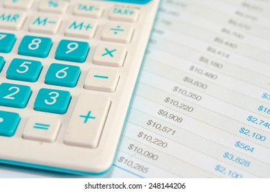 a calculator is on a balance sheet numbers are statistics.