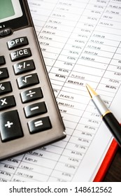 Calculator on financial and business documents