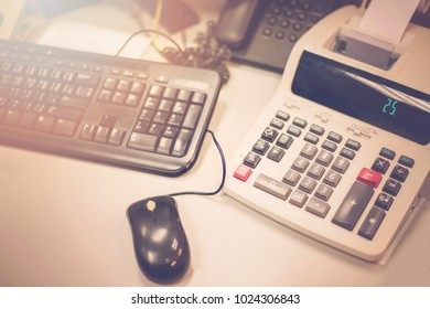 Calculator On the office desk.
