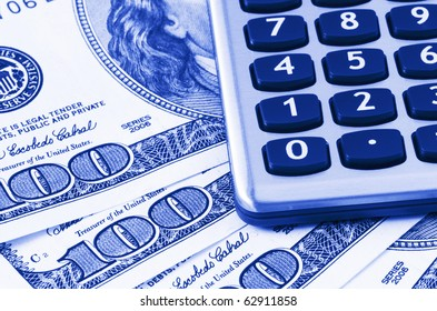 Calculator on US dollars background,dual tone