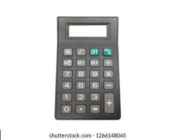Calculator on white background.