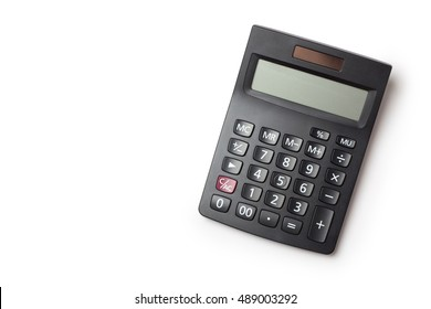 Calculator on white background, Top view