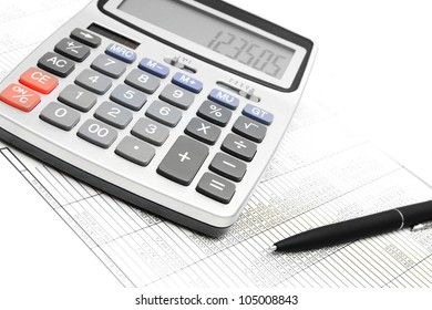 The calculator, pen and documents.