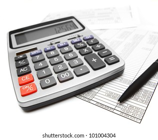 The calculator, pen and documents. On a white background.