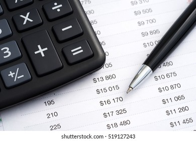 Calculator and pen, financial concept